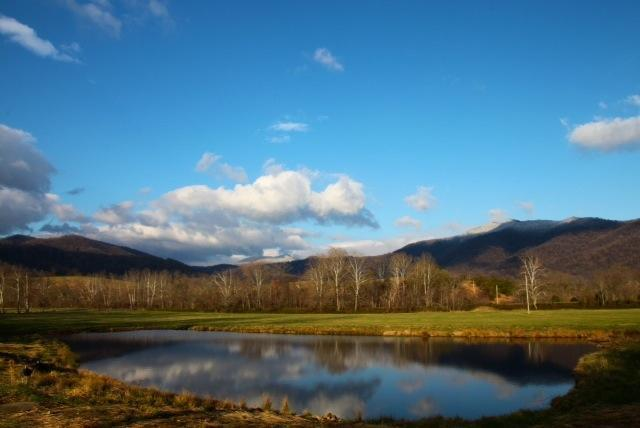 View of the pond and mountains