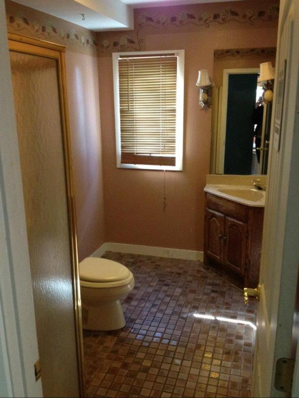 Downstairs b/room with custom corner shower