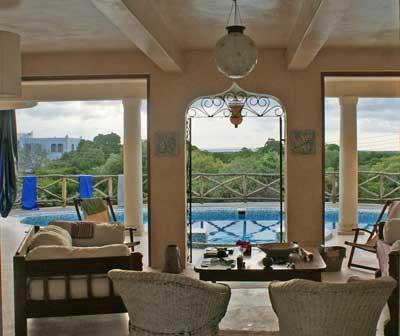 View from Living area across pool towards Mida Creek