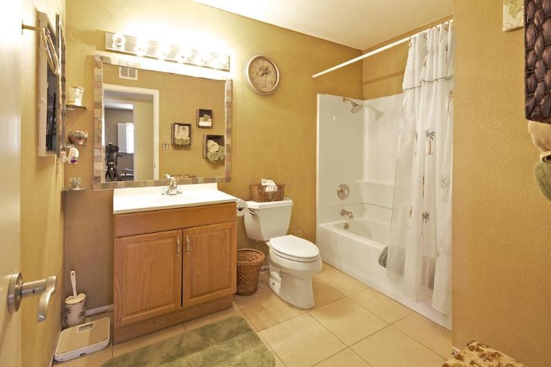 Spacious bathroom with tub/shower