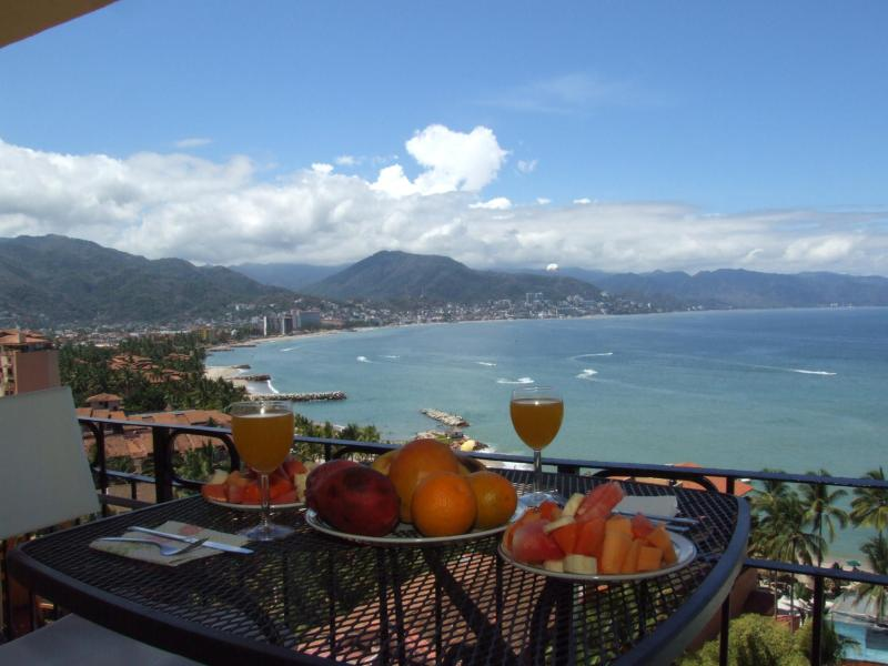 Amazing view from Private balcony. View of Ocean, mountains & city.