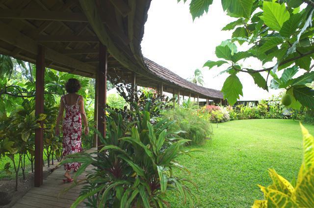 callejón techado por lujoso jardín