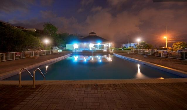 The pool at night . Care for a skinny dip