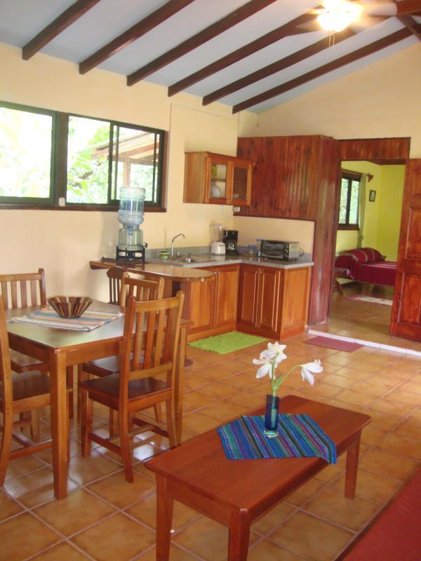 Futon, kitchenette, desk, dining table