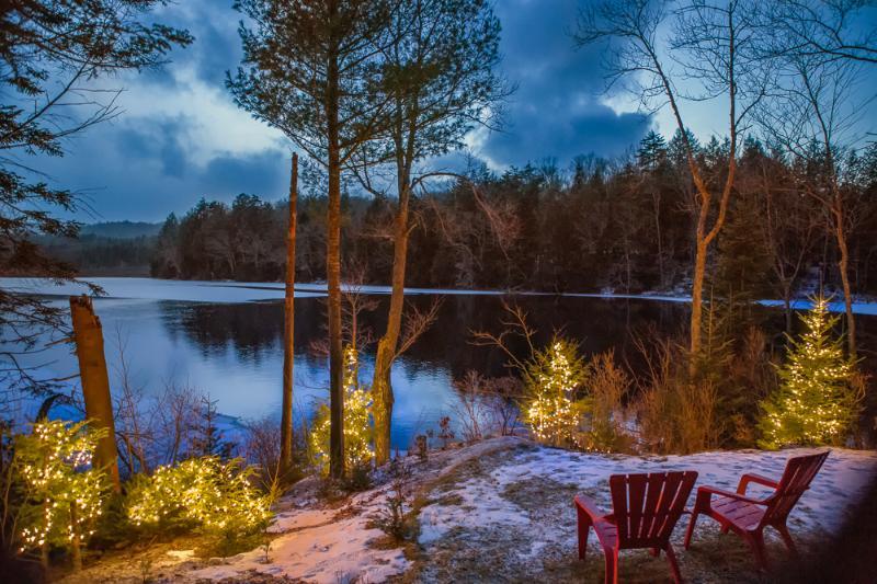 Winter Night Lights on the Lake
