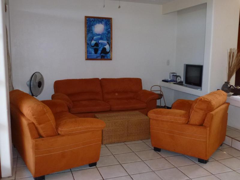 El salón.  Sofá, love seat y sillón.
