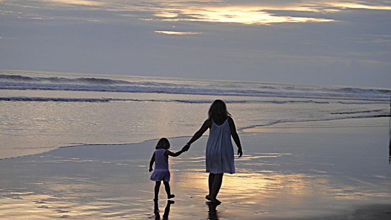 Walk on soft sandy beach at sunset, 5 minutes from the villa.