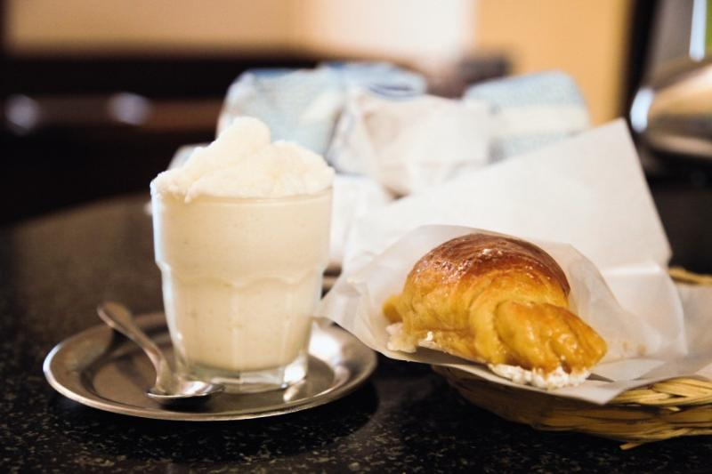 Sicilian Breakfast : Almond Granita and Croissant filled with Honey