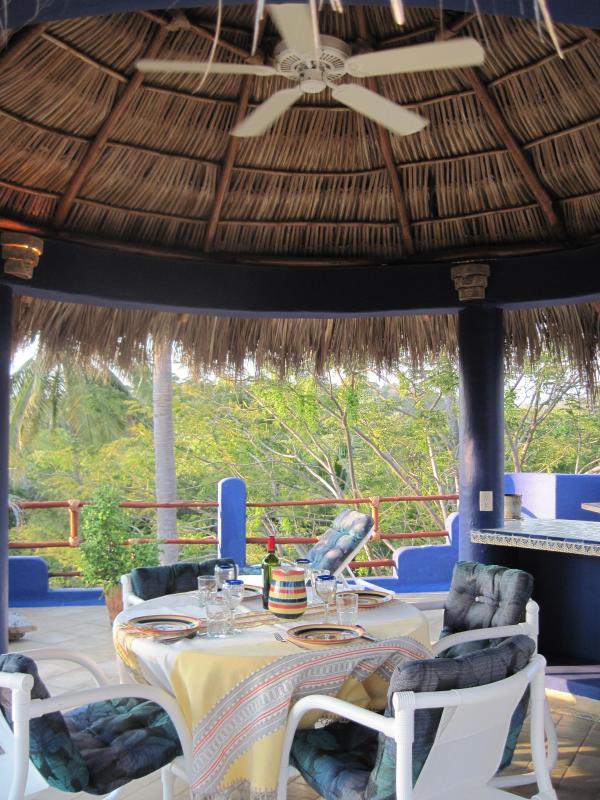Grill le dîner, profitez de la vue depuis le pont supérieur palapa !