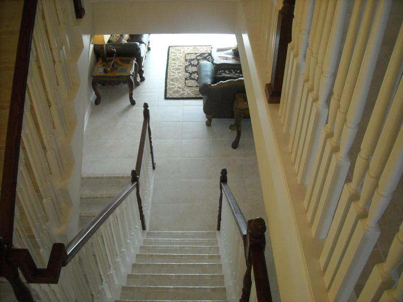 Lets go down the stairs to recreation room on the ground floor