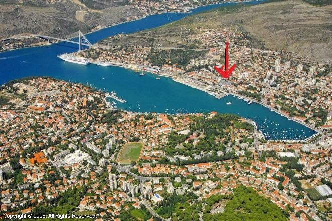 Aeria view of Gruz harbor and apartment location, 100 m from ferry port