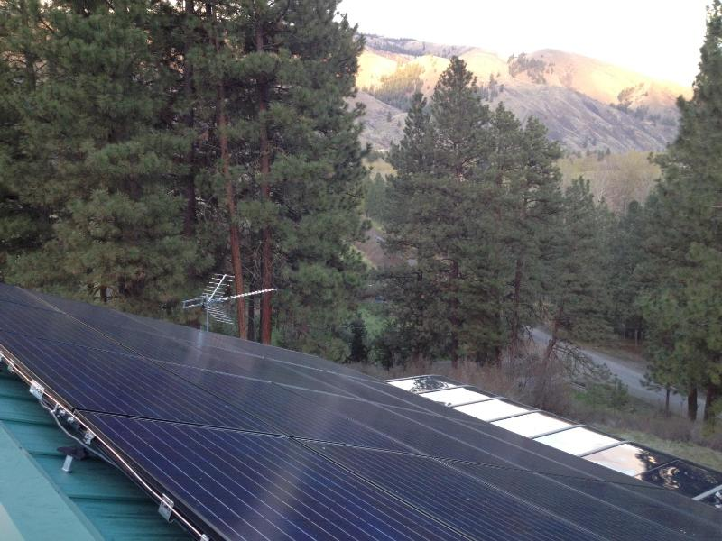 The roof top solar panels provide the lodge's electric power.