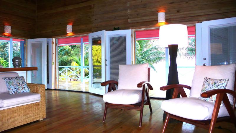 living room with french doors opening onto the veranda