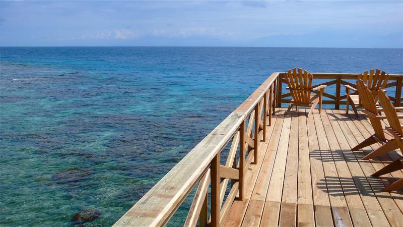 banhos de sol/estrela olhando deck sobre a água