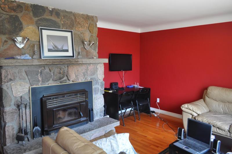 Field Stone Fireplace - 32' HD Flat Screen