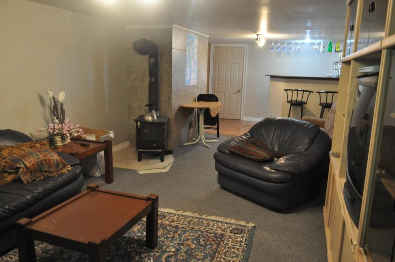 Wood Stove in Family Room - Bar at Far Side