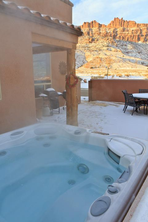 Hot tub with Rim and La Sal Mt. views