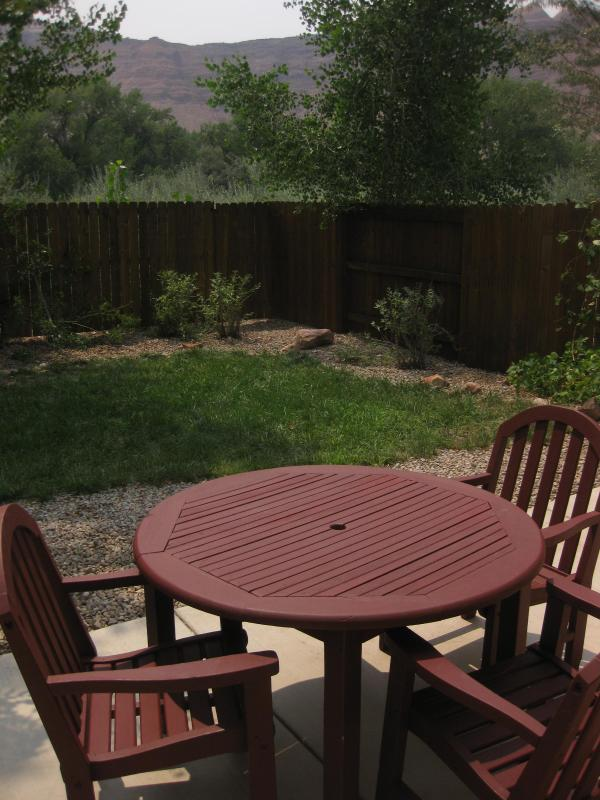 Back yard with view of the Moab rim