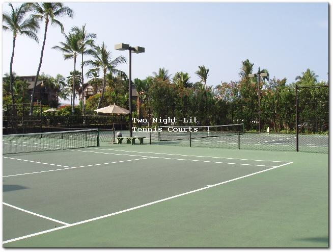 Two night-lit tennis courts