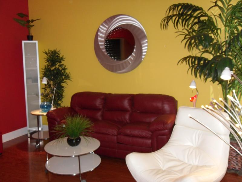 """SALA W / cama SOFA W / cama doble, silla de salón, 50"""" pantalla plana de televisión, SUELO LAMINADO"""