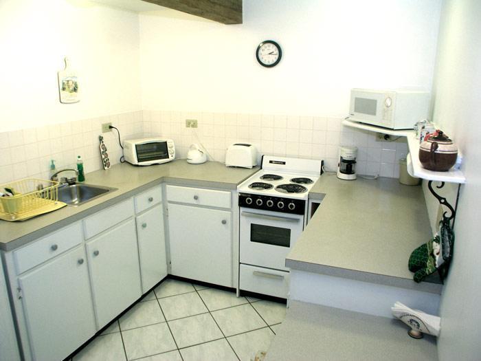 Cuisine avec réfrigérateur, cuisinière, micro-ondes, etc.