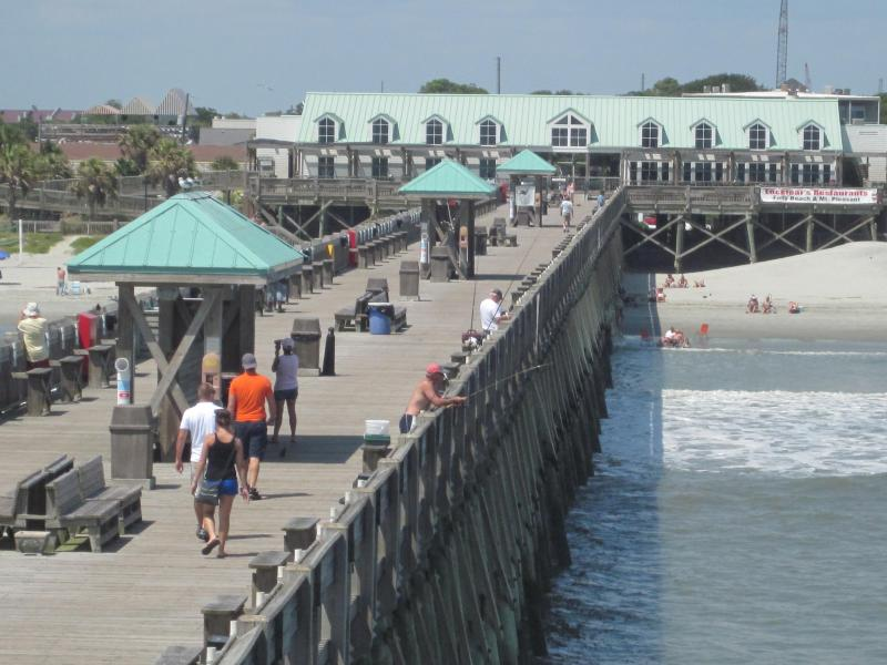 The 1000-foot Folly fishing pier is a great place to watch people or enjoy the ocean breezes