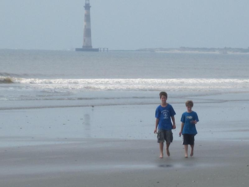 Looking for shells on Morris Island - a fun boat trip (Morris Island Lighthouse in distance)