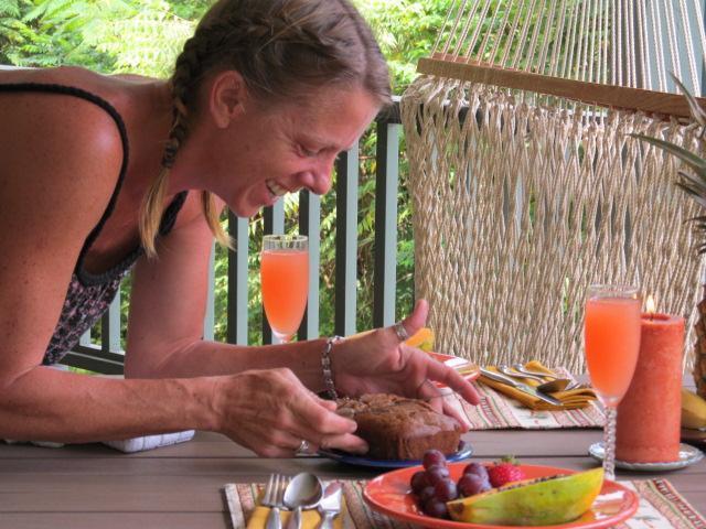 Outdoors, dining 'al fresco.'