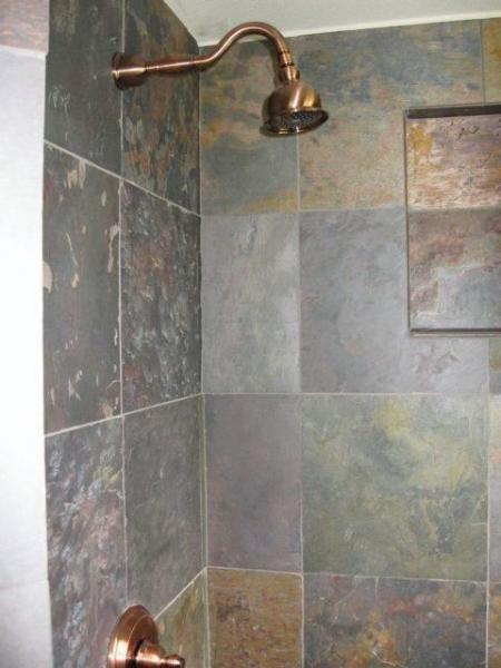 Slate shower in downstairs bath