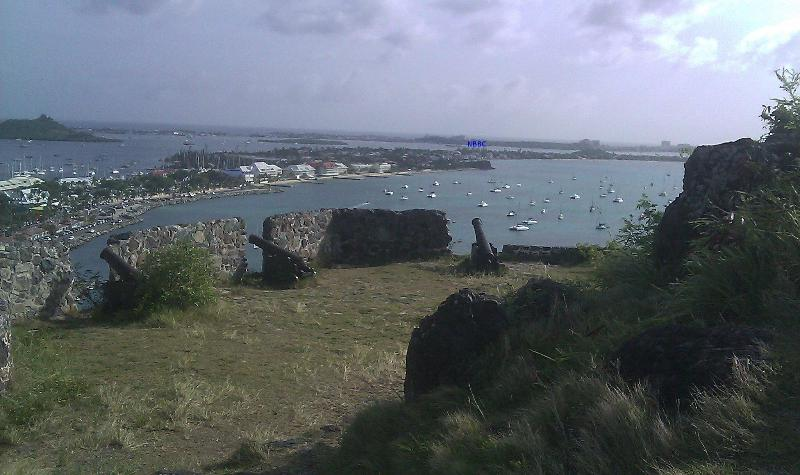 Picture from the Fort Louis in Marigot. The residence is identified