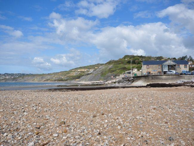 View of beach at Charmouth