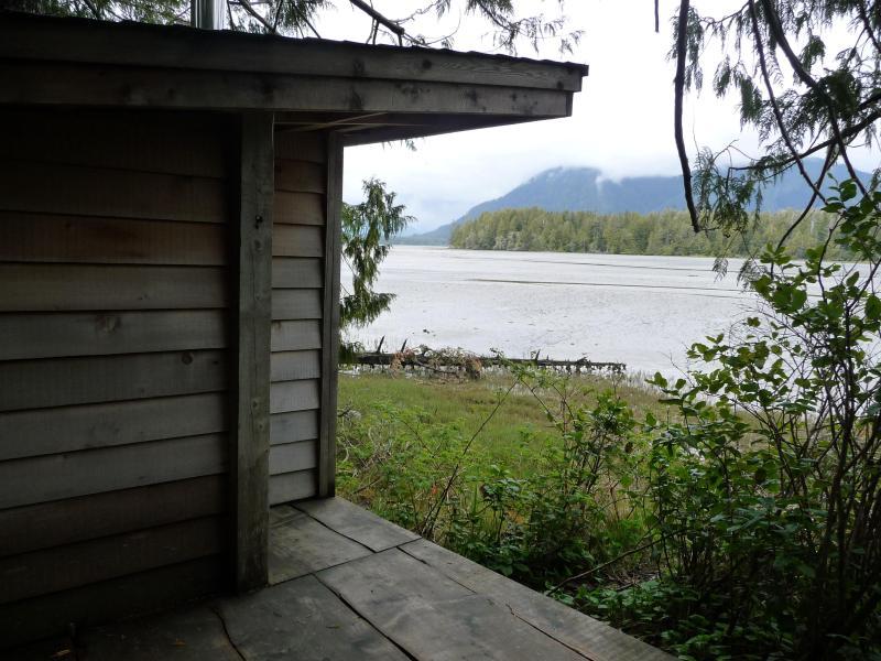 The wood fired sauna, looking toward Jensen's Bay