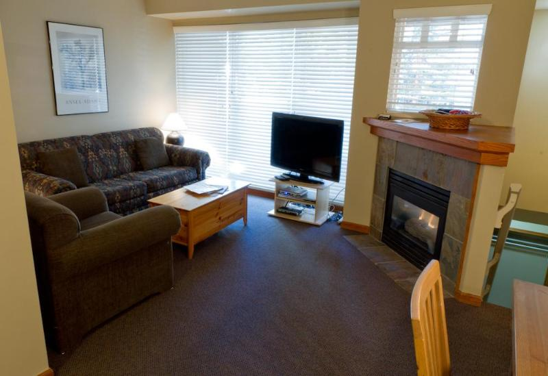 Features flat screen TV, gas fireplace, sofa and comfy chairs, deck with BBQ