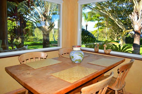 Dining surrounded by views to the vegetation