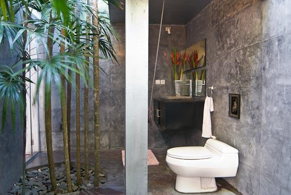 Half outdoor half indoor tropical bathroom, shower under the stars and palm trees, enjoy the freedom