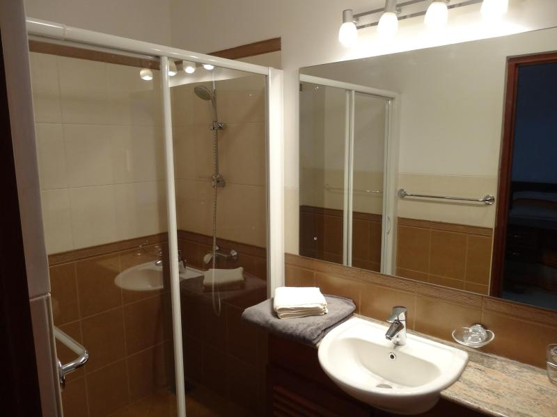Bath Room attached to 2nd Bed Room with shower cubicle with hot water