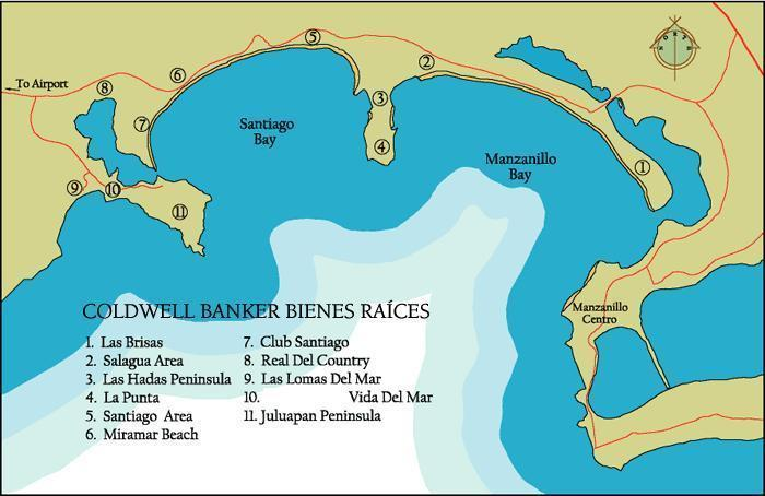 Map of Santiago and Manzanillo Bay area, #10 on the map is Vida Del Mar condo complex.
