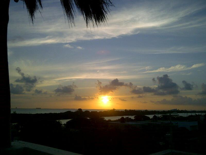 Sunset from the rooftop terrace