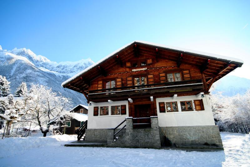 Chalet 715 in Winter with clear views of the Mt Blanc range including the Aguille du Midi