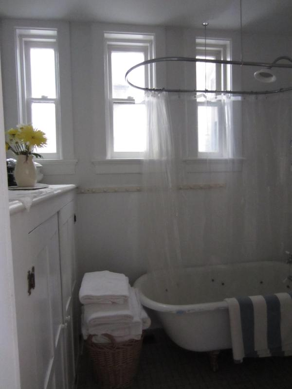 The bathroom with a claw foot tub