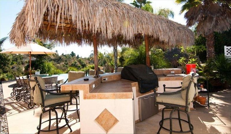palapa bar with built in bbq