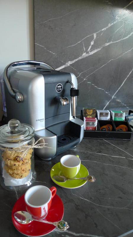 Complimentary Lavazza coffee, teas and gourmet biscuits