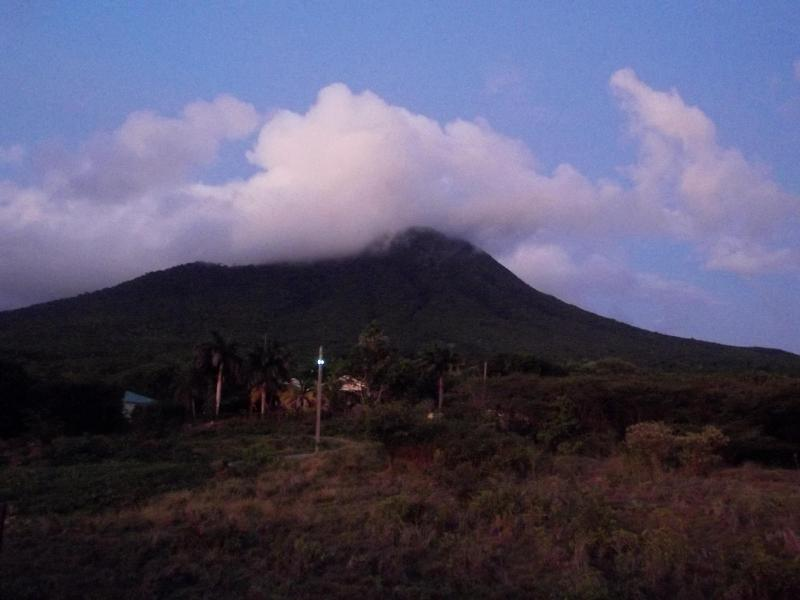 Nevis Peak with cloud cover taken from our second floor.