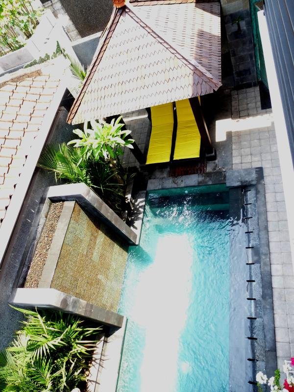 Looking over the pool from bedroom 2 balcony