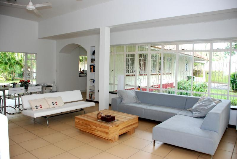 The villa has a large living room with flat screen TV, stereo and iPod/iPhone speaker docking