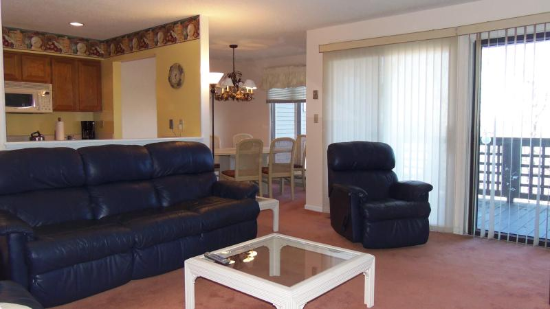 Living area; dining area in back