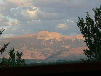 View of the Gros Ventre mountains and the 'Sleeping Indian' from the rear deck