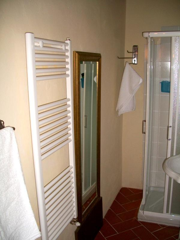 The fully equipped bathroom with shower
