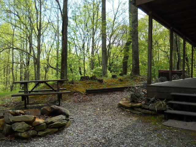 Firepit and picnic table outside cabin