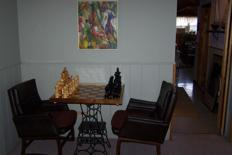 Chess set in master bedroom